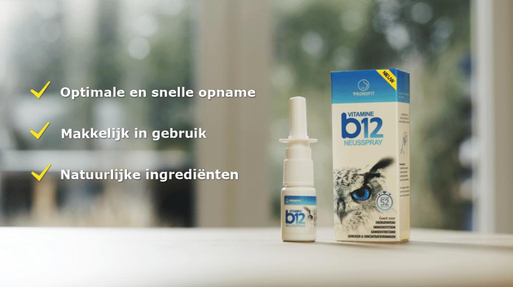 Drie USP's van de vitamine B12 neusspray: optimale en snelle opname, makkelijk in gebruik en natuurlijke ingrediënten.